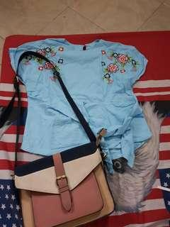 Biru muda bunga blouse