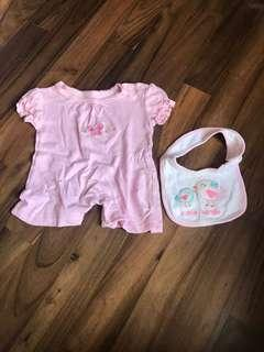 Baby playsuit plus bib