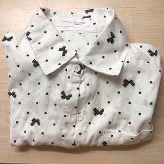 蝴蝶結白襯衫