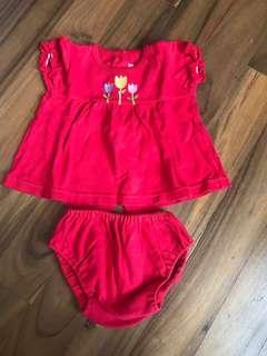 Baju satu bulanan man yue baju merah baby girl bayi perempuan