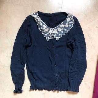 🚚 珍珠小圓領寶藍針織外套