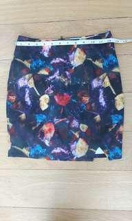 Love Bonito watercolour mini skirt with side slit