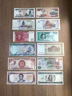 ASSORTED UNC-AU World Banknotes Set LOT OF 12 PCS