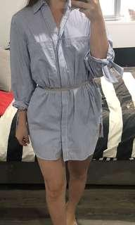 Zara Blue/White shirt dress