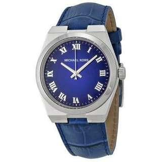 Michael kors watch blue dial blue leather strap