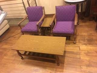 Vintage Teak 4 piece sofa chair set