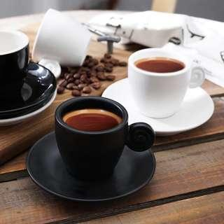 🚚 Black + White Espresso Cup Set | Ceramic Drinkingware