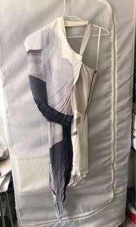 100% Real Helmut Lang One Shouldered Silk Leather White Pattern Dress 絲質皮全身裙