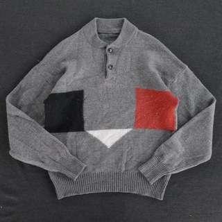 🚚 🌴80s幾何圖騰針織灰色亨利領復古毛衣 男女皆可Vintage 古著老品