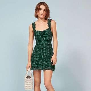 🚚 Instock! - BNWT Green Polka Dot Tie Keyhole Ruffle Strap Fitted Dress