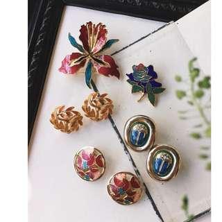Skin&Moss Vintage經典復古耳環繽紛的季節精緻琺瑯耳夾東方風格七寶燒飾品