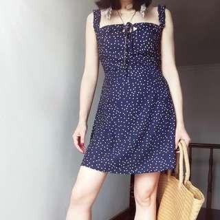 🚚 Instock! - BNWT Navy Blue x White Ruffle Strap Polka Dot Keyhole Fitted Dress