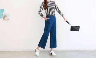 🚚 韓國熱銷款後腰彈性小寬褲