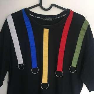 Oversized Black Rainbow Ring Striped T Shirt
