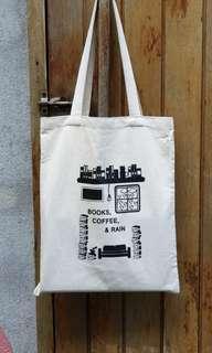 Canvas Tote Bag - Books, Coffee & Rain