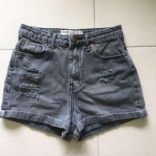 🚚 Instock! - CO / Cotton On Grey Stonewash Dark Denim High Waisted Shorts (HWS)