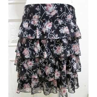 🚚 專櫃0918 雪紡紗層次裙 玫瑰花黑底