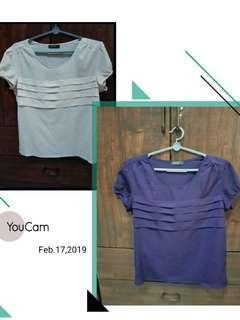 🚚 Pepper plus Purple and Beige short sleeve blouse