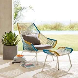 🚚 Outdoor Wicker Armchair Sofa (footstool footrest optional)