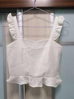 🚚 White Crop Top with Ruffles hem and flutter shoulder strap