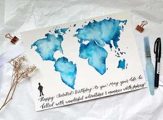 🚚 World map watercolor calligraphy card