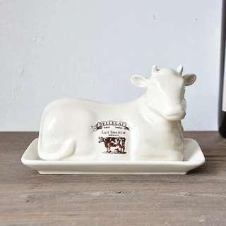 Rustic Ceramic Cow Shaped Butter Dish | Vintage | Country