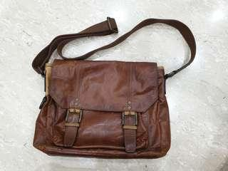 Brown Leather Sling Bag - Fossil