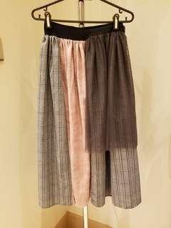 patchwork mid skirt 斯文裙