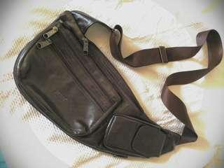 Brown Leather Side sling/fanny pack