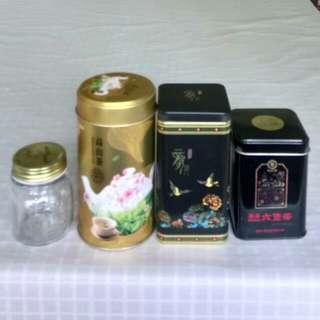 靚茶葉罐三個+精緻玻璃樽