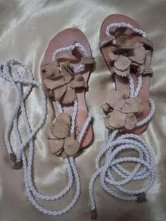 Zara sandals size 27 leather and cord for girls