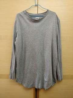 ASOS 男生灰色長版長袖T恤 M