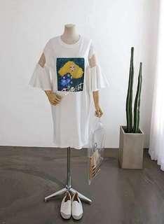 🚚 韓國圖片手袖透膚長版上衣