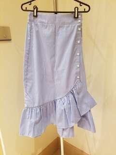 Zara blue and white stripes skirt