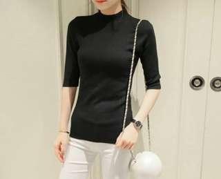 Black Half Sleeve Knit Top