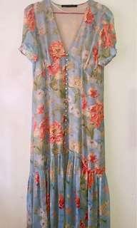 Zara Blue Floral Button Down Long Dress