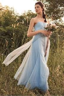 TCL Vida Pleated Tulle Maxi Dress in Powder Blue in XS