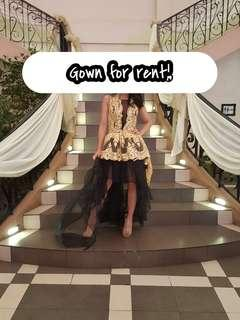 Backless Lace Gown (Black and Gold) RENT and SALE