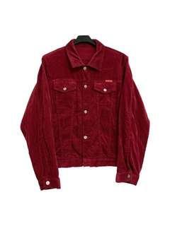 🚚 古著燈芯絨暗紅色外套