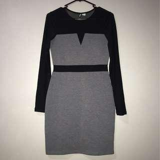 Grey and Black Mesh Dress