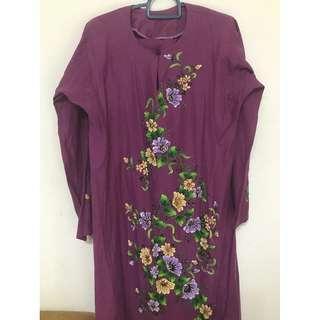 Kurung purple with beads