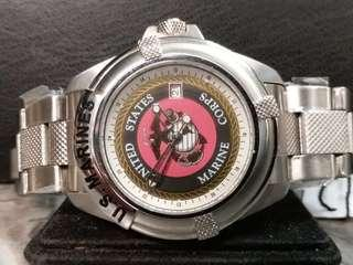 全新United States Marine Corps 男庄日曆石英錶連原廠錶帶及錶盒40mm (203)