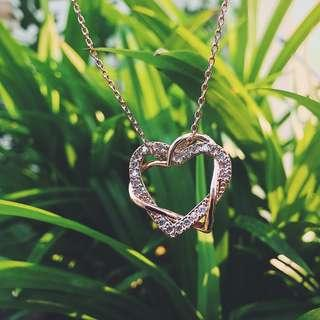 Double Heart Crystal Diamond Pendant Necklace Rose Gold
