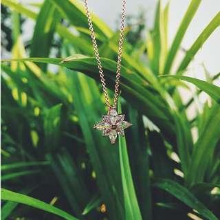 Diamond Crystal Stardust Pendant Necklace Rose Gold