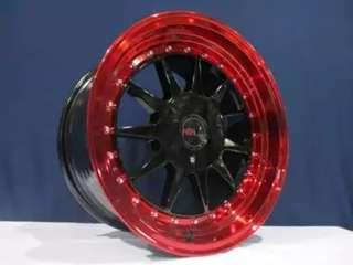 toko velg racing termurah model Ikimasu R16x7,5/8,5 Black Red