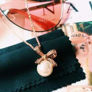Rose Gold Pearl Pendant Necklace Korea