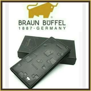 """(Stock on  20Apr-2) Braun Buffel """"silver cow"""" pressed design unisex authentic black leather long wallet"""