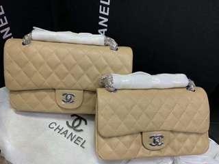 Chanel Biege Caviar and Lambkin Flapbag
