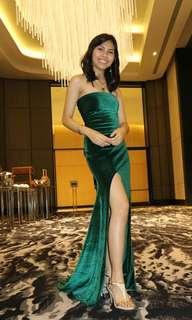 Velvet emerald green long gown for rent