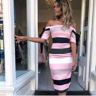 By Johnny band stripe off shoulder Dress